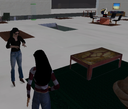 two users interact in Second Life